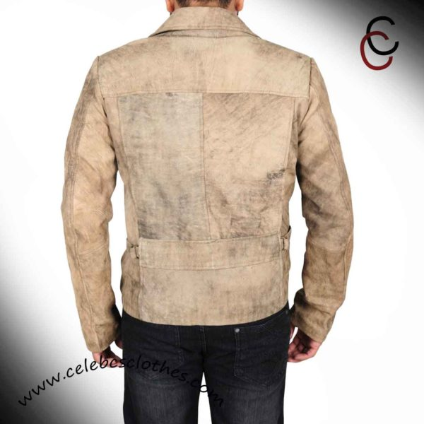 snake plissken distressed brown leather jacket