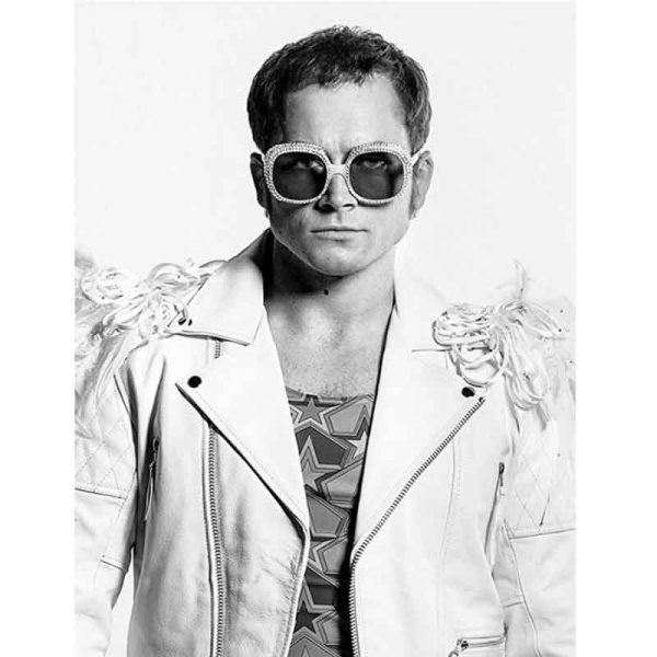 White Rocketman Taron Egerton Leather Jacket