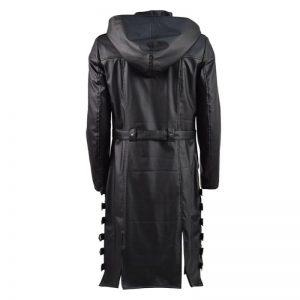 PUBG Leather Hooded Trench Coat