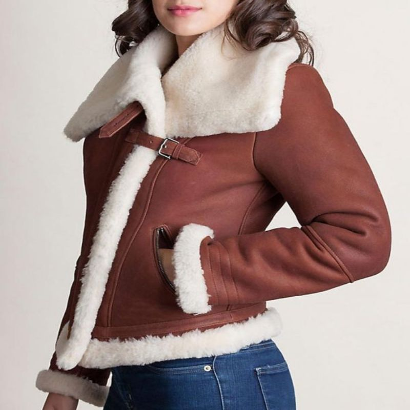 Womens Sheepskin Shearling Leather Jacket