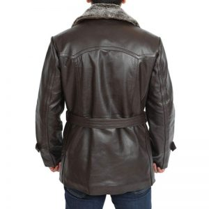 Fur Collar Mens Brown Trench Leather Coat