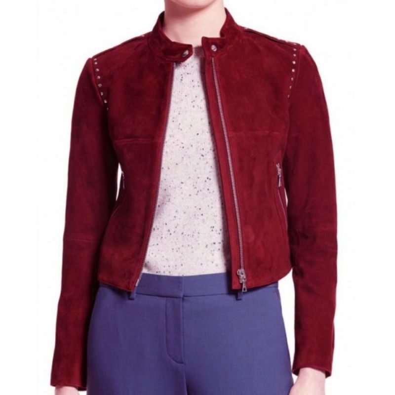 Willa Holland Arrow Red Suede Jacket