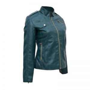 Women Green Faux Leather Moto Jacket