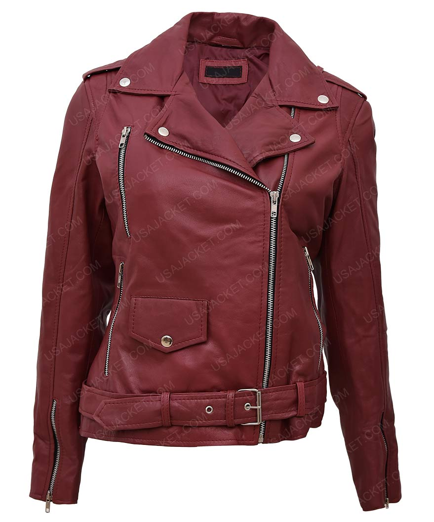 Women Maroon Motorcycle Leather Jacket